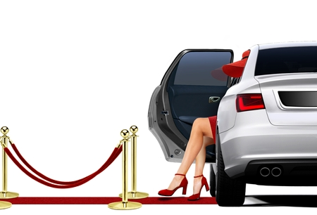 open car door: Limousine Arrival with lady in red attire