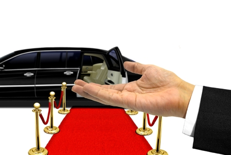 limousine: Hand welcome gesture to a luxury limousine ride