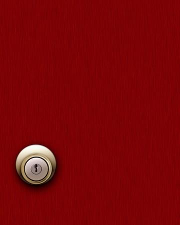 wood door: Red wooden door and knob