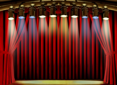 spot lights: Empty stage with red curtain and spot lights Stock Photo