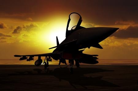 vliegtuig Fighter bij zonsondergang op carrier schip