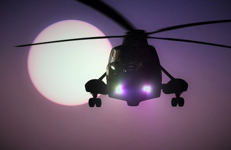 helicopter rescue: Military Helicopter flying at sunset