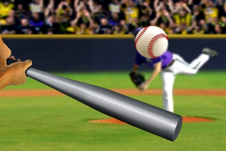 spectator: Baseball swing with pitcher and spectator background Stock Photo