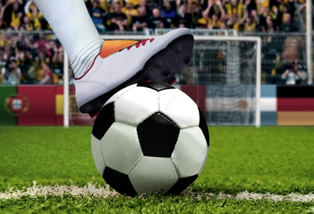 spectator: Soccer penalty kick with spectator background Stock Photo