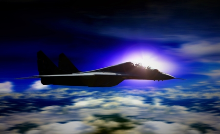 supersonic transport: Military plane flying during sunrise with blur motion background