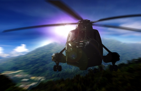 rescue: Helicopter on a rescue mission in a mountain