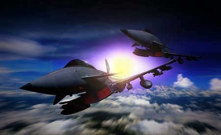 fighter jet: Two fighter jet flying in a mission Stock Photo