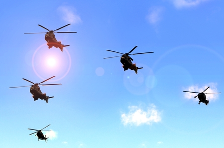 military helicopter: Military helicopter parade under blue sky Stock Photo