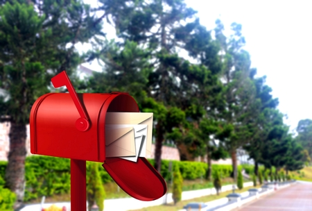 postal: Red postal box on walkway
