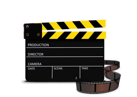 movie clapper: Clapperboard and film strip