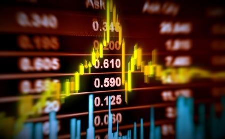 dinero: 3D ilustración stock precio y el movimiento gráfico Foto de archivo
