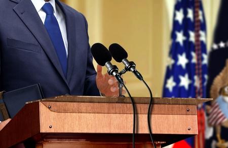 Politician during press conference Foto de archivo