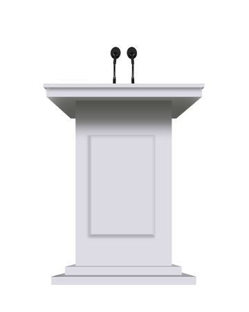 rostrum: white podium rostrum stand with microphones isolated on white
