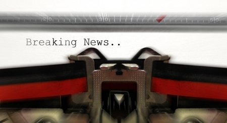 breaking: Old typewriter with breaking news Stock Photo