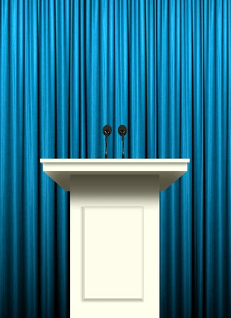 curtain background: white podium over blue curtain background