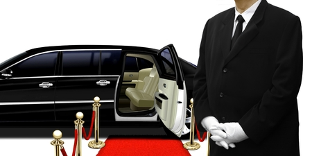 hearse: limousine chauffeur standing by the car