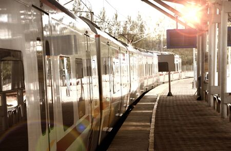 Train arriving at station