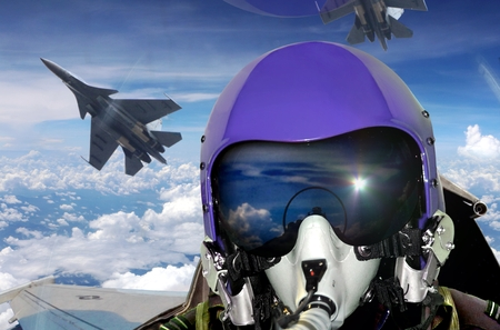 Jet da combattimento vista pilota della cabina di guida Archivio Fotografico - 66010421