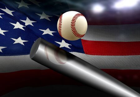 red white blue: Baseball bat hitting ball with American flag background Stock Photo