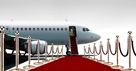 private airplane: Private airplane boarding on red carpet