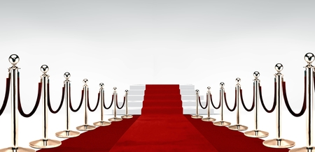 entertainment event: Red carpet with stairs at the end over white Stock Photo