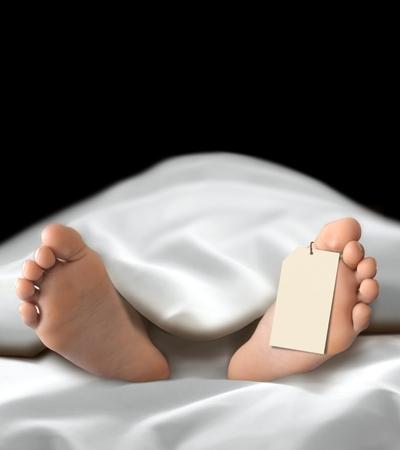 遺体安置所で横になっている死んだ人の体