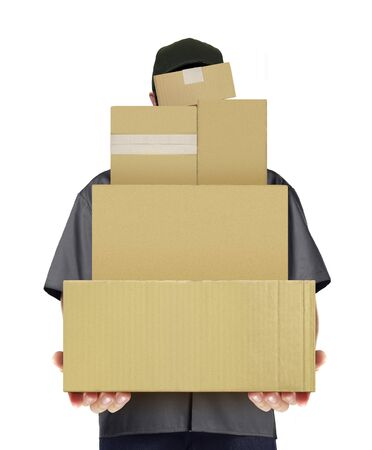 配信男を運ぶ宅配ボックス 写真素材