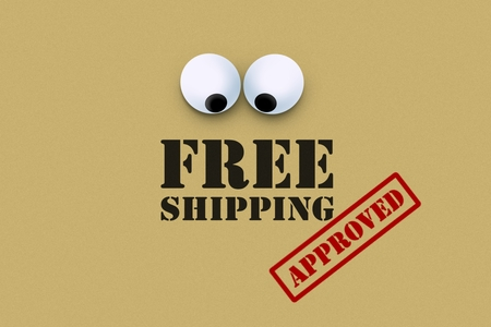 Free shipping with an eye looking down