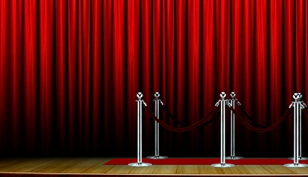 Red carpet on stage and curtain