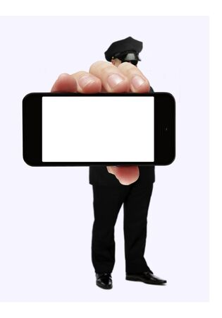 Limo driver showing blank smartphone 写真素材
