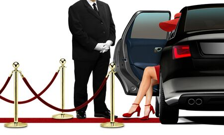open car door: Driver opening black limousine door for women in red dress