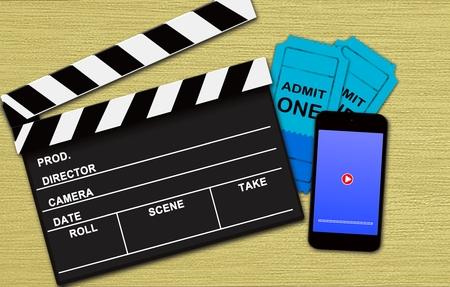 映画オンライン予約をコンセプト 写真素材