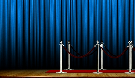 blue carpet: Red carpet on stage with blue curtain Stock Photo