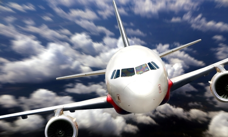 Airplane flying from nose view