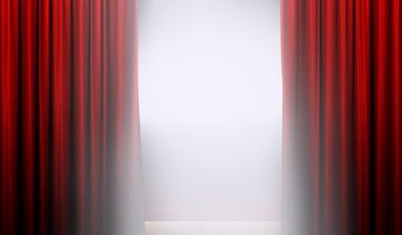 明るいスポット ライトとステージ上の赤いカーテンを開ける