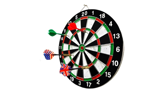 Dart board with arrow isolated on white background