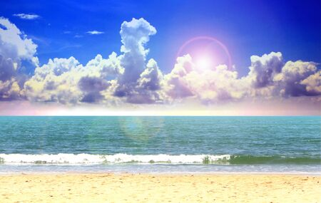 Open blue sea and cloudy sky