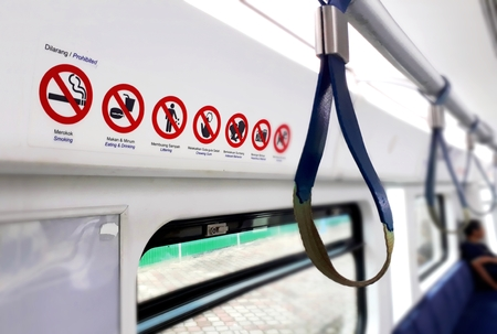 列車内部アラーム サイン 写真素材