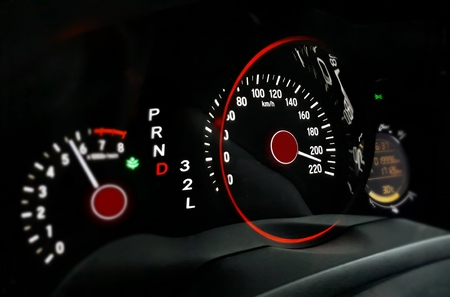 speed car: Car dashboard with high speed movement