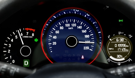 Car dashboard speedometer moving in high speed
