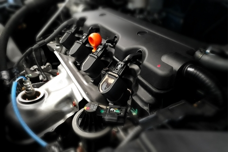 Modern car engine in close up