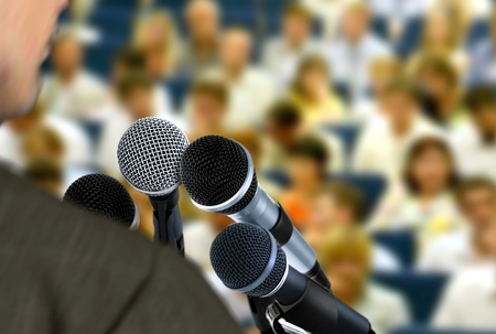 Man giving speech during seminar