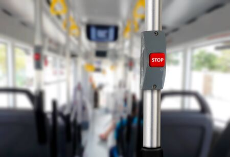 Bus stop button with empty seats 写真素材