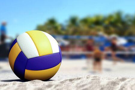 砂浜のビーチでバレーボール ゲーム