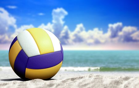 海と曇りの青い空とビーチでバレーボール