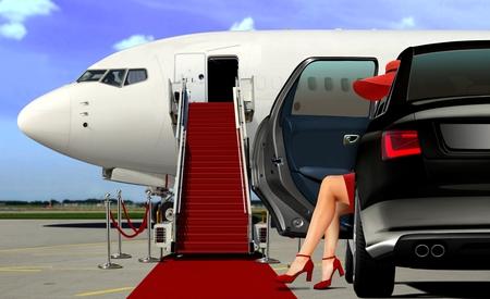 レッド カーペットと空港リムジン到着 写真素材