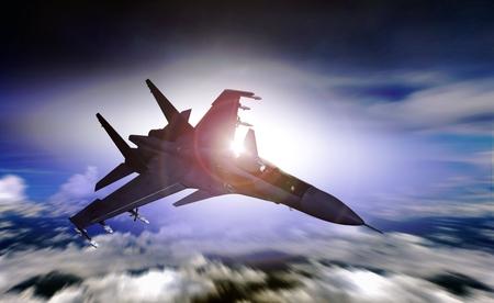 Air force jet flying over sunrise