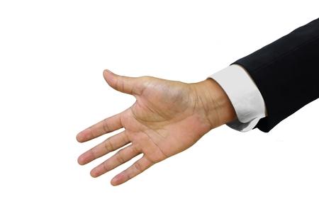 Open handshake isolated on white background