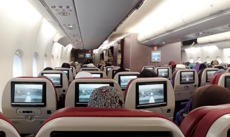 Airplane interior seats view