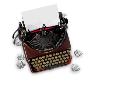 Vintage typewriter top view over white 写真素材